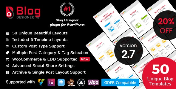 Blog Designer PRO for WordPress - CodeCanyon Item for Sale