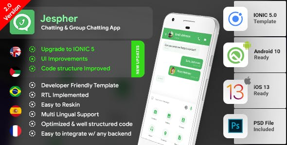 Chatting & Group Chatting Android + iOS App Template | HMTL +  Css IONIC 5 |  Jespher