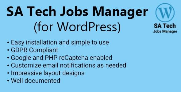 SA Tech Jobs Manager (for WordPress) - CodeCanyon Item for Sale