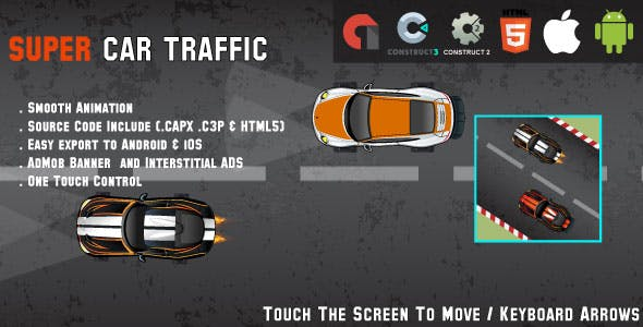 Car Traffic - HTML5 Racing Game - Android & IOS + AdMob (HTML5, CAPX & C3P)
