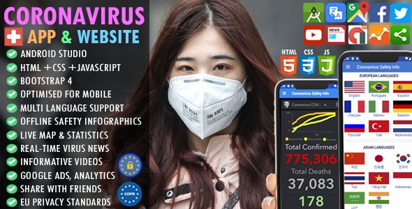 CoronaVirus (COVID19) Safety Guide 2021: Multi Language + Real-time Maps & Stats + Live News + AdMob - CodeCanyon Item for Sale