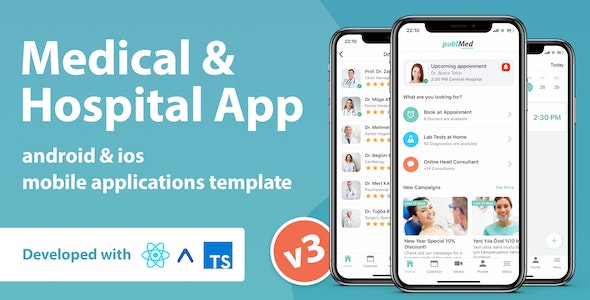 Medical & Hospital Mobile App Template With React Native - CodeCanyon Item for Sale
