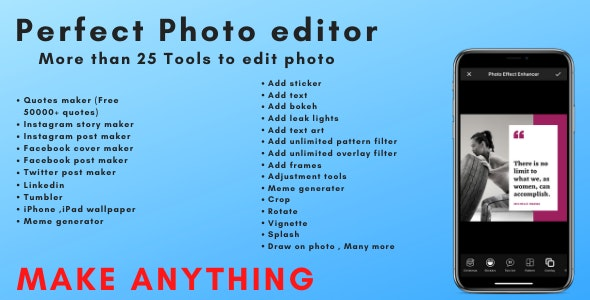 Perfect photo editor pro , Social media post,wallpaper,quotes maker - CodeCanyon Item for Sale