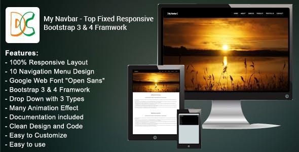 My Navbar - Top Fixed Bootstrap 3 & 4 Framework
