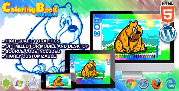 Html5 Coloring Book : Animals - HTML5 Game - CodeCanyon Item for Sale