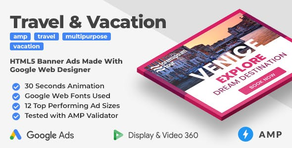 Travel & Vacation Animated AMP HTML Banners (GWD, AMP)