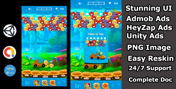 Bubble shooter ball game bouncing ball touch unity game