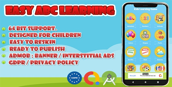 EASY ABC LEARNING GAME FOR KIDS : PUSH NOTIFICATION - CodeCanyon Item for Sale