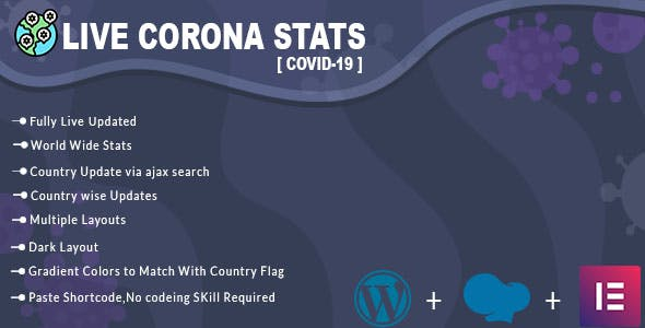 Covid19 - Corona Virus Live Stats & Updates For WordPress