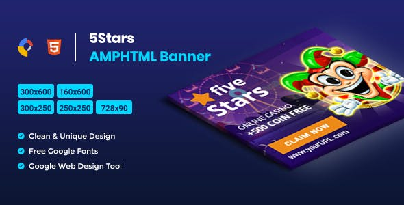 5 Stars AMPHTML Banners Ads Template