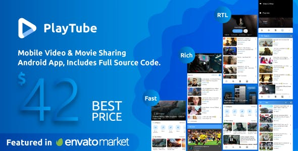 PlayTube - Mobile Video & Movie Sharing Android Native Application (Import / Upload)