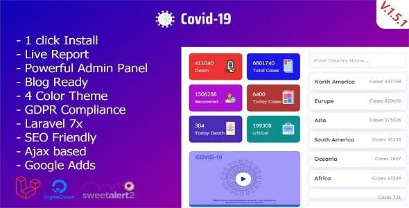 Covid-19 - Laravel Coronavirus Live Report Premium Script.