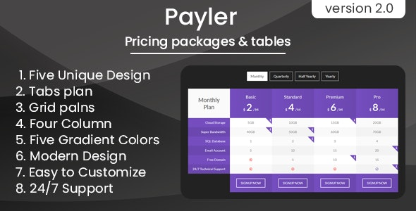 Payler - Pricing Packages & Tables - CodeCanyon Item for Sale