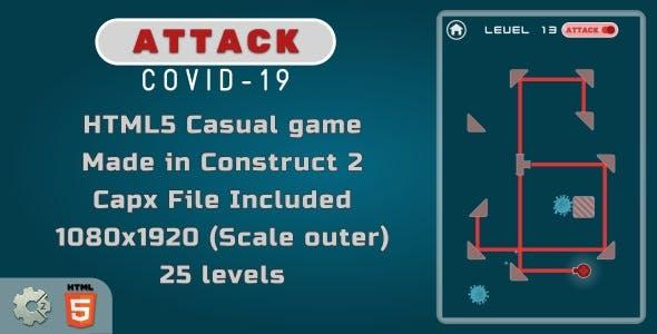 Attack Covid-19 - HTML5 Puzzle Game