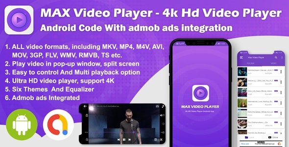 Android Max Player - 4k HD Video Player with Admob Ads (version-2) - CodeCanyon Item for Sale