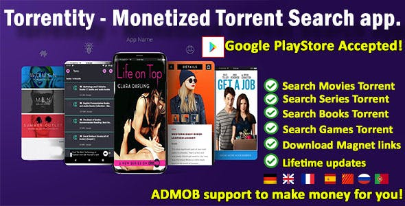 Torrent search app for streaming and download - Torrentity