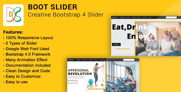 Boot Slider - Creative Bootstrap 4 Slider
