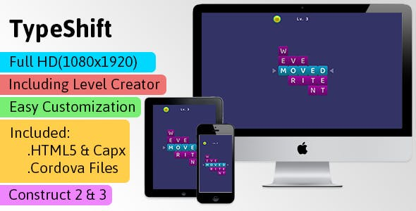 Typeshift - HTML5 Game (Construct 2 | Construct 3 | Capx | C3p) - Puzzle Game str8face