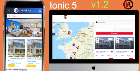 Listpack Ionic 5 Classified Ads  Android  + IOS + Frontend + Backend