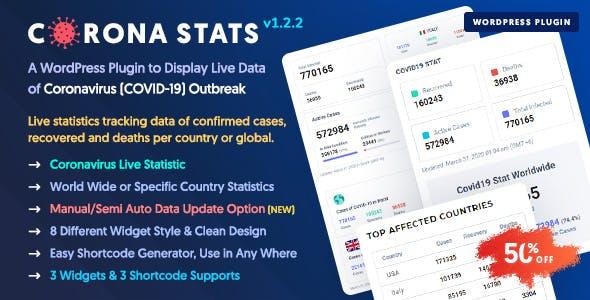 Corona Stats - COVID-19 Coronavirus Live Stats & Widgets for WordPress