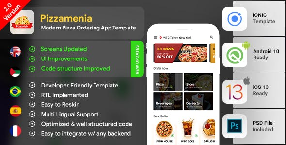 Pizza Ordering Android App Template + Pizza Ordering iOS App Template|Pizza App| Pizzamenia| IONIC 3