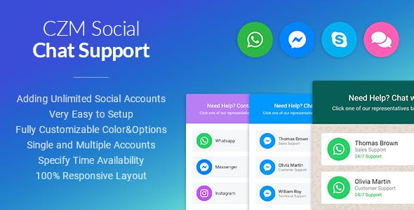 CZM Social Chat Support - jQuery Plugin