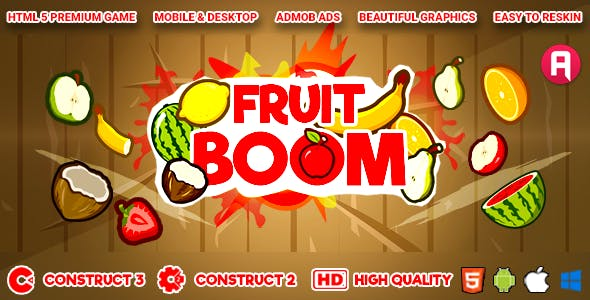Fruit Boom - HTML5 Game (Construct 3 | Construct 2 | c3p | capx) and Android (apk)