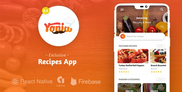 Yonia - Complete React Native Recipes App + Admin Panel - CodeCanyon Item for Sale