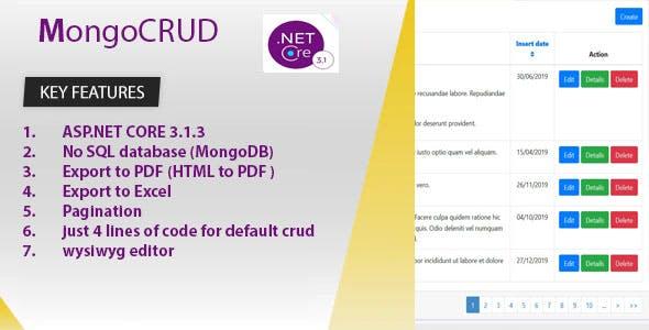 MongoCRUD is developed by ASP.NET CORE 3.1.3 and Mongodb