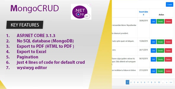 MongoCRUD is developed by ASP.NET CORE 3.1.3 and Mongodb - CodeCanyon Item for Sale