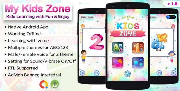 My Kids Zone - Kids Prelearning School Android App - CodeCanyon Item for Sale