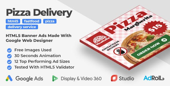 Pizza Delivery - Animated HTML5 Banner Ad Templates (GWD)