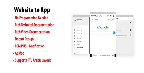 Website to App | Native Universal Android Webview App with Navigation drawer & Custom Pages