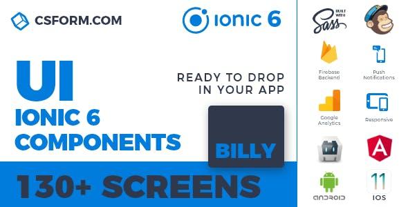 Billy | Ionic 6 / Angular 9 UI Theme / Template App | Multipurpose Starter App