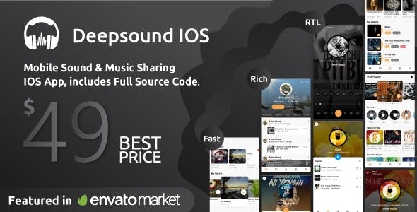 DeepSound IOS- Mobile Sound & Music Sharing Platform Mobile IOS Application