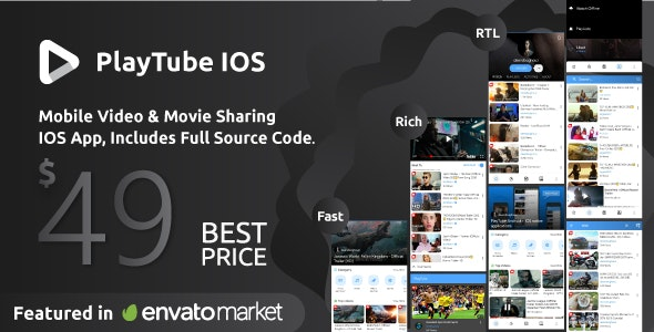 PlayTube IOS - Sharing Video Script Mobile IOS Native Application - CodeCanyon Item for Sale