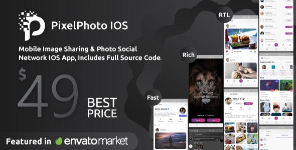 PixelPhoto IOS - Mobile Image Sharing & Photo Social Network