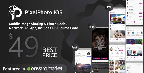 PixelPhoto IOS - Mobile Image Sharing & Photo Social Network - CodeCanyon Item for Sale