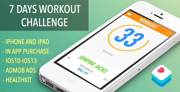 7 Day Workout Challenge - IOS App With HealthKit And YoutubePlayer - CodeCanyon Item for Sale