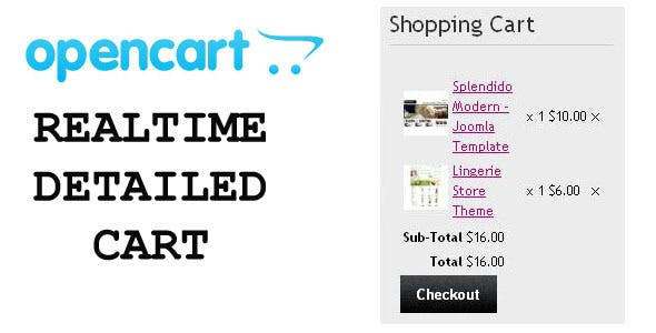 Opencart Realtime Detailed Shopping Cart