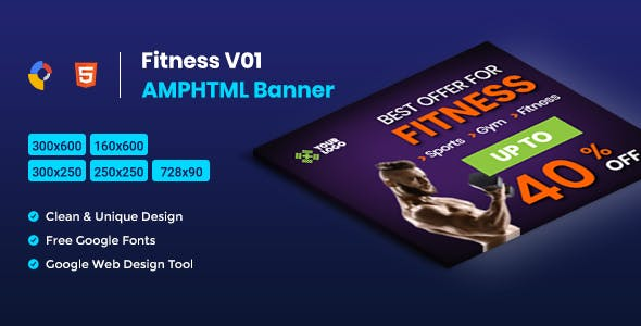Fitness AMPHTML Banners Ads Template -V01