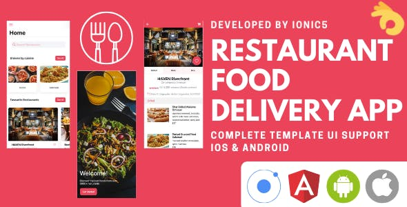 Restaurant and Food Delivery Ecommerce App (Ionic5 & Capacitor) Template UI