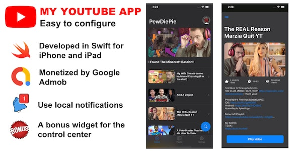 My YouTube App for my channel (Swift for iPhone & iPad) - CodeCanyon Item for Sale