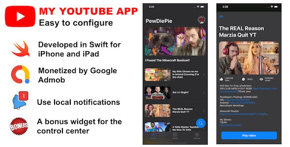 My YouTube App for my channel (Swift for iPhone & iPad)
