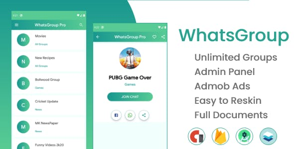 WhatsGroup Pro with admin Panel and Admob ads