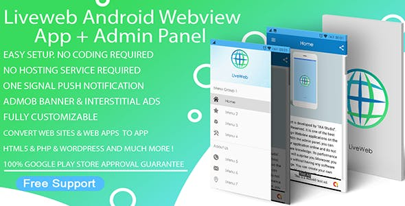 Liveweb Android Webview App With Admin Panel + Push Notification + Admob | Convert Website To App