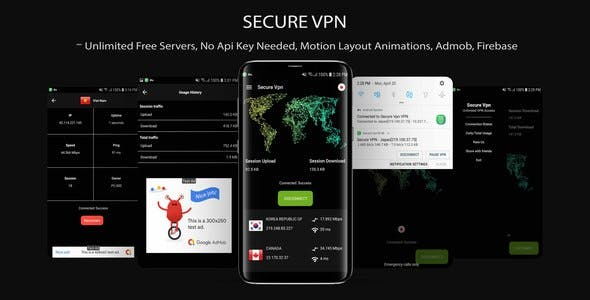 Secure VPN (Unlimted Free Servers + Admob + Motion Layout)
