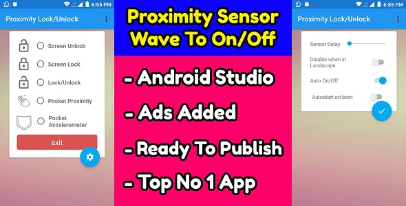 Proximity Sensor Wave to Lock Unlock (Template) Android Application Source Code