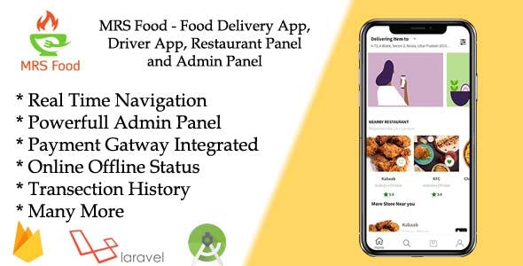 Food Delivery App, Driver App, Restaurant Panel and Admin Panel