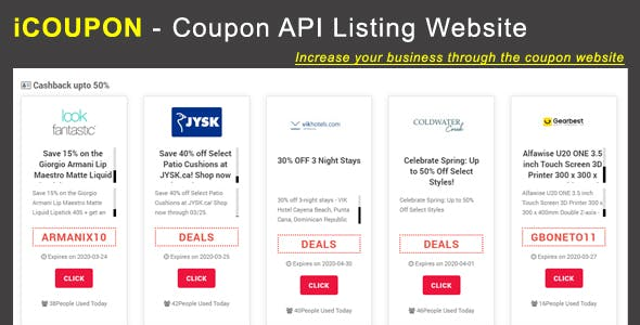 iCOUPON - Coupon API Listing Website